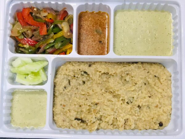 Ghee Pongal, Cocunt chutney, sauteed onion and capsicum salald